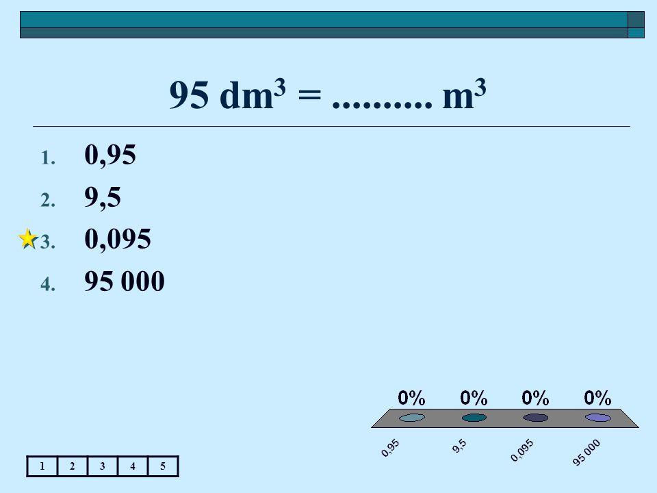 95 dm3 = .......... m3 0,95 9,5 0,095 95 000 1 2 3 4 5