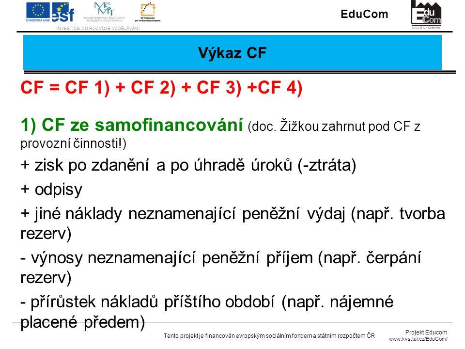Výkaz CF CF = CF 1) + CF 2) + CF 3) +CF 4) 1) CF ze samofinancování (doc. Žižkou zahrnut pod CF z provozní činnosti!)
