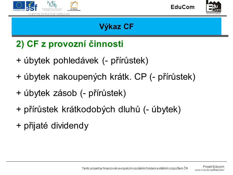 2) CF z provozní činnosti + úbytek pohledávek (- přírůstek)