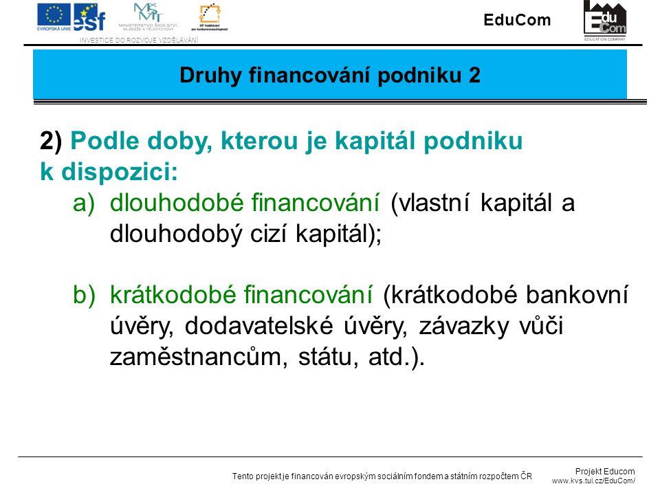 Druhy financování podniku 2