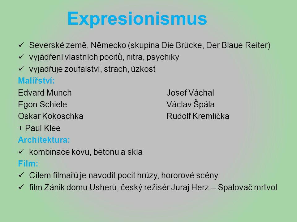 Expresionismus Severské země, Německo (skupina Die Brücke, Der Blaue Reiter) vyjádření vlastních pocitů, nitra, psychiky.
