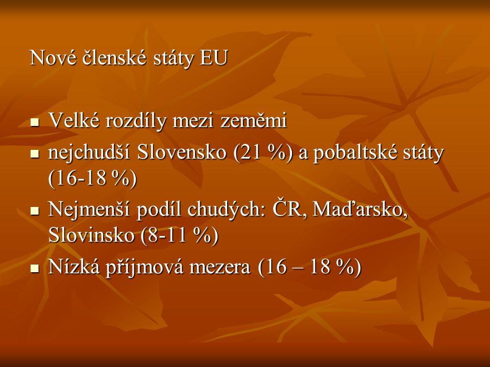 Nové členské státy EU Velké rozdíly mezi zeměmi. nejchudší Slovensko (21 %) a pobaltské státy (16-18 %)