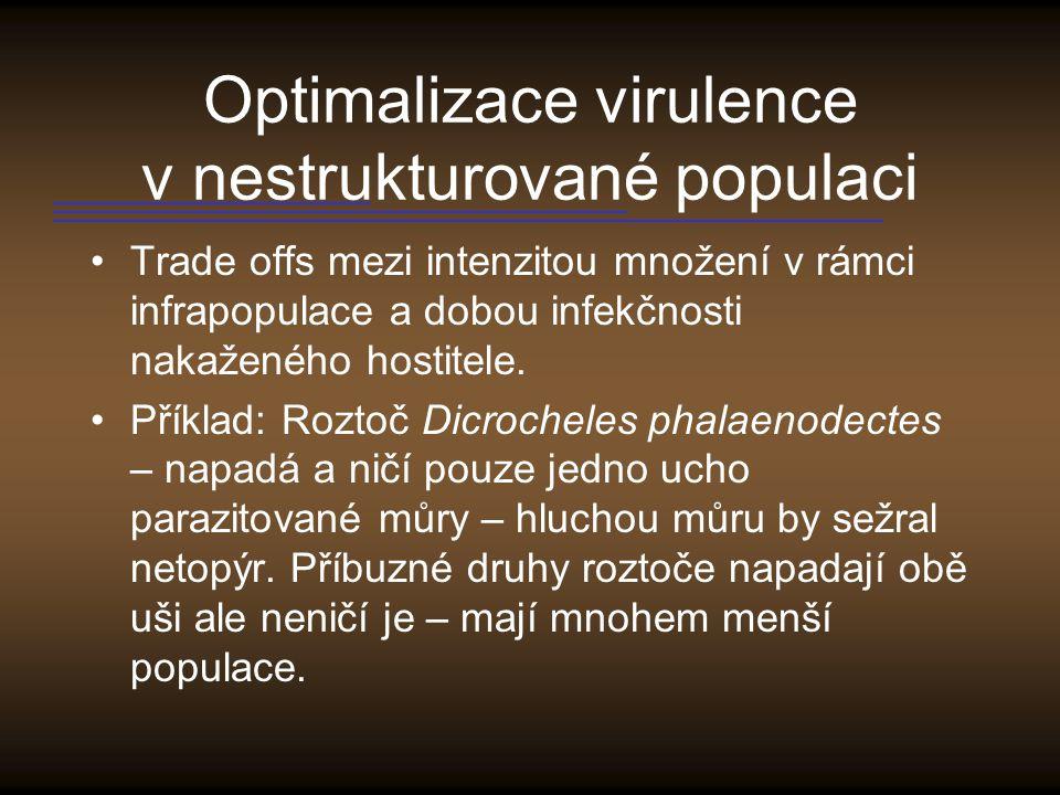 Optimalizace virulence v nestrukturované populaci