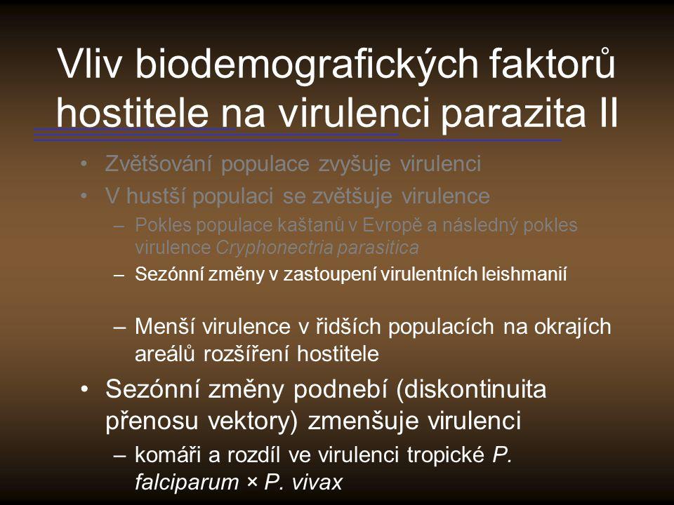 Vliv biodemografických faktorů hostitele na virulenci parazita II