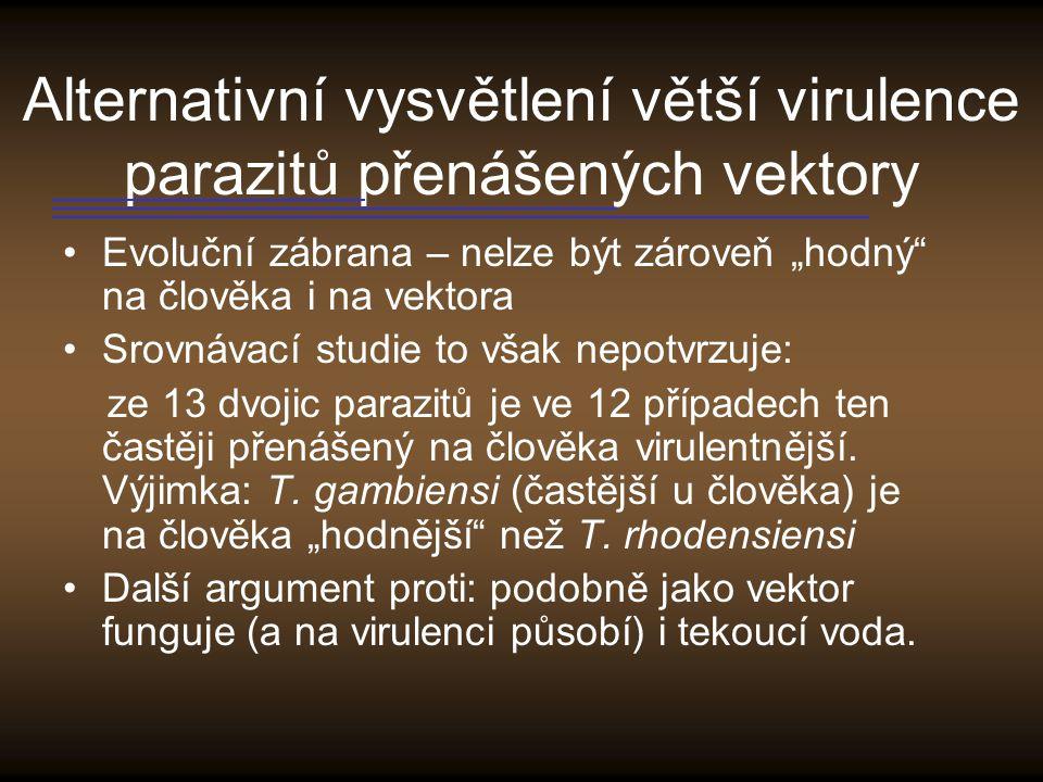 Alternativní vysvětlení větší virulence parazitů přenášených vektory