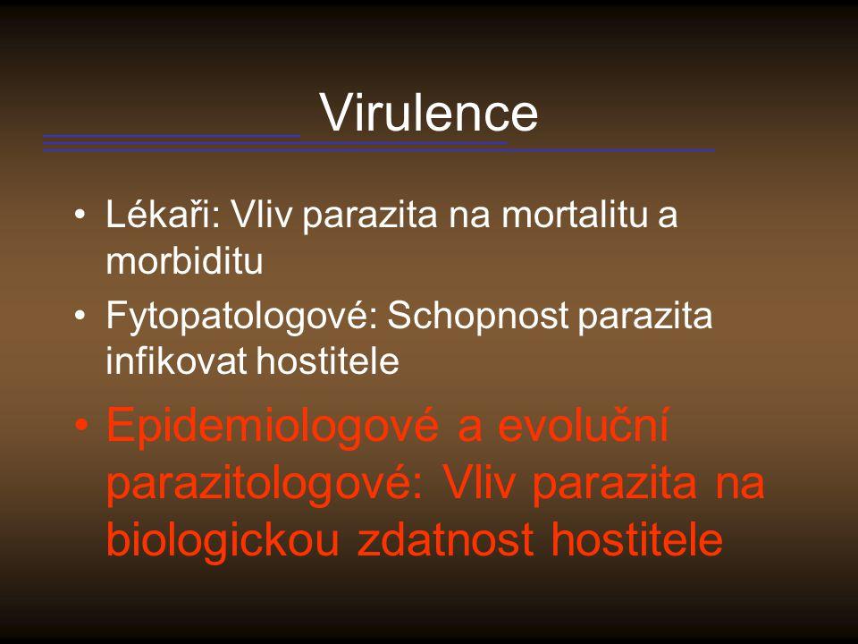 Virulence Lékaři: Vliv parazita na mortalitu a morbiditu. Fytopatologové: Schopnost parazita infikovat hostitele.