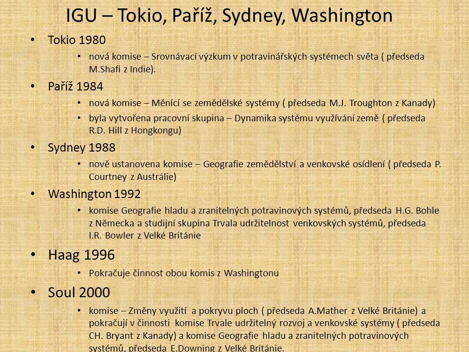 IGU – Tokio, Paříž, Sydney, Washington