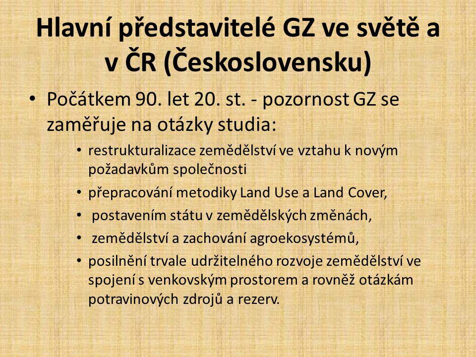 Hlavní představitelé GZ ve světě a v ČR (Československu)