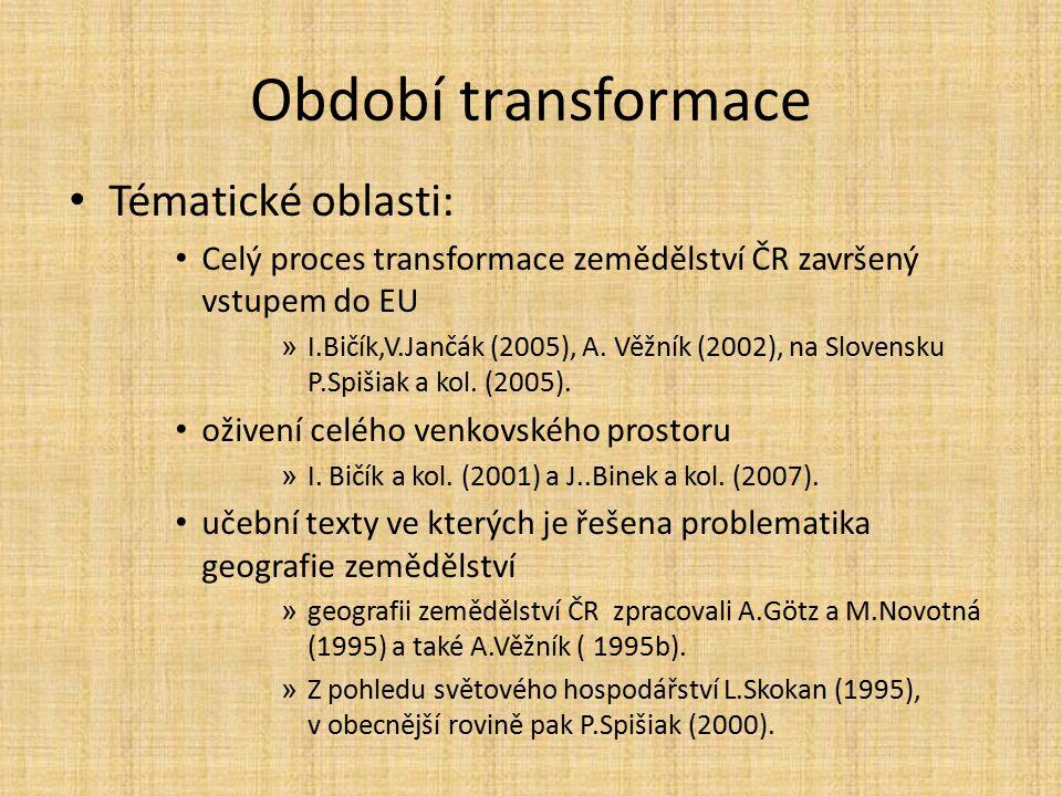 Období transformace Tématické oblasti: