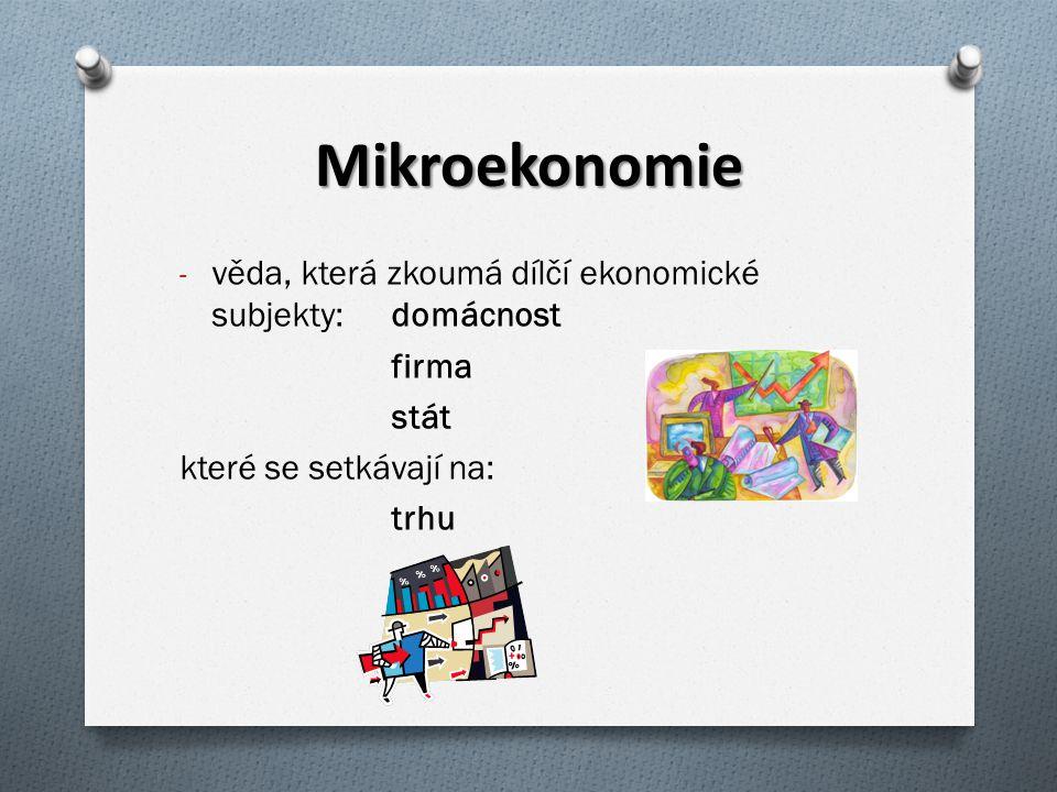 Mikroekonomie věda, která zkoumá dílčí ekonomické subjekty: domácnost