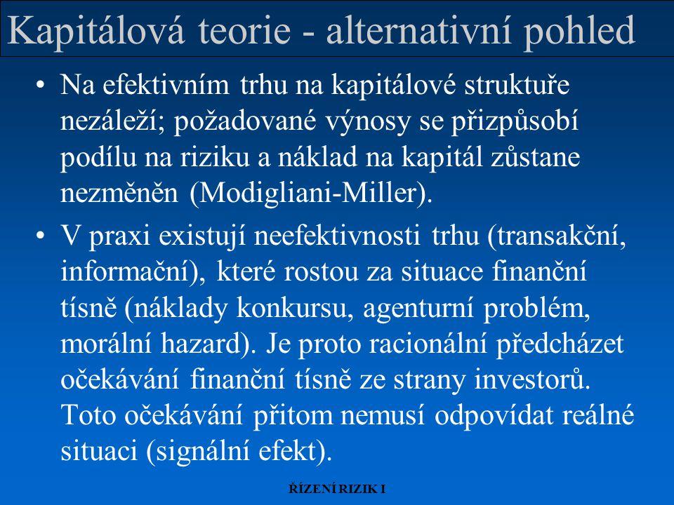 Kapitálová teorie - alternativní pohled
