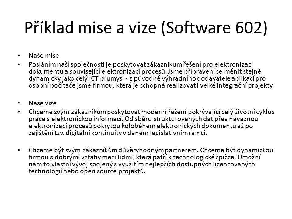 Příklad mise a vize (Software 602)