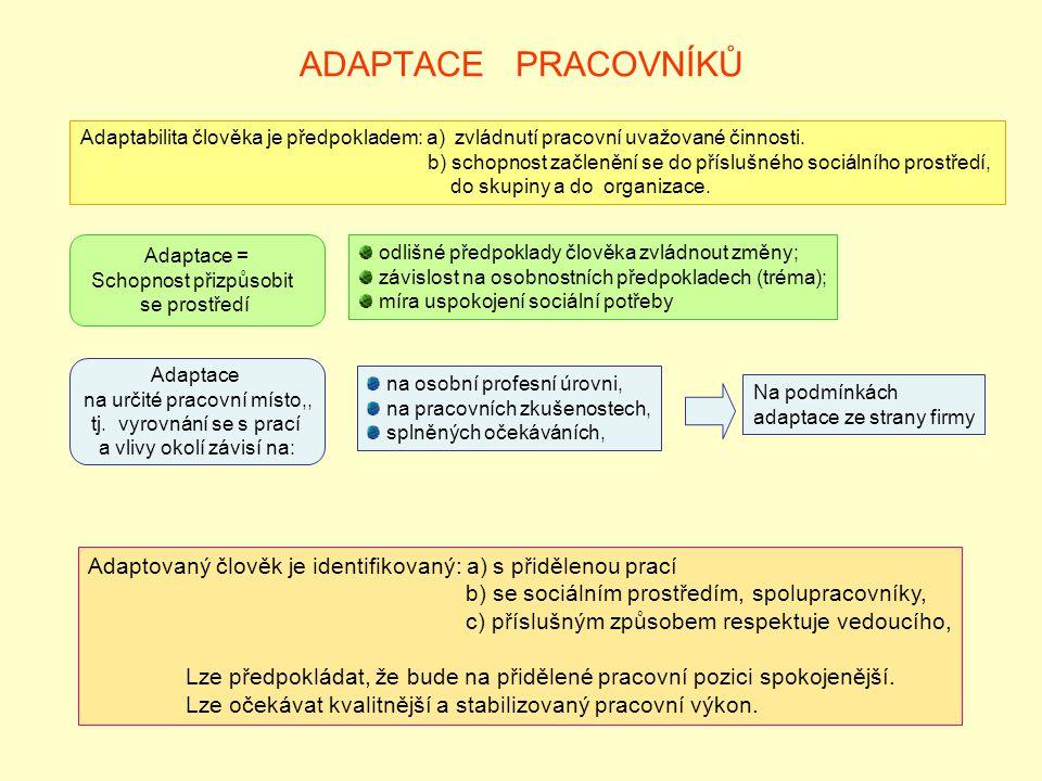ADAPTACE PRACOVNÍKŮ Adaptabilita člověka je předpokladem: a) zvládnutí pracovní uvažované činnosti.