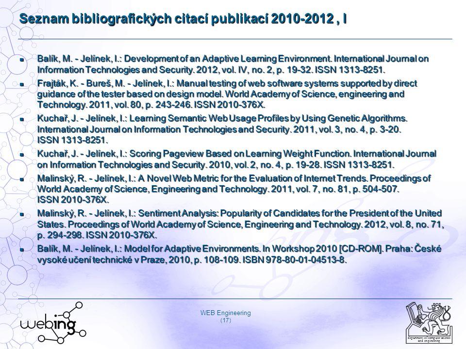 Seznam bibliografických citací publikací 2010-2012 , I