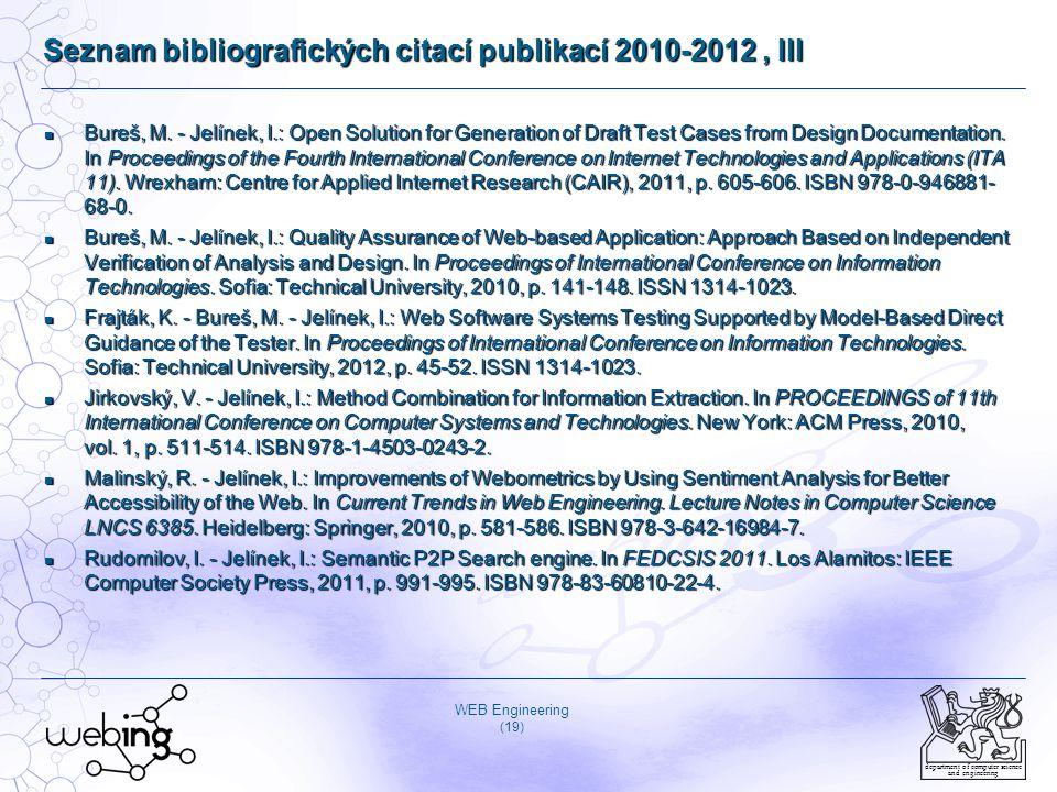 Seznam bibliografických citací publikací 2010-2012 , III
