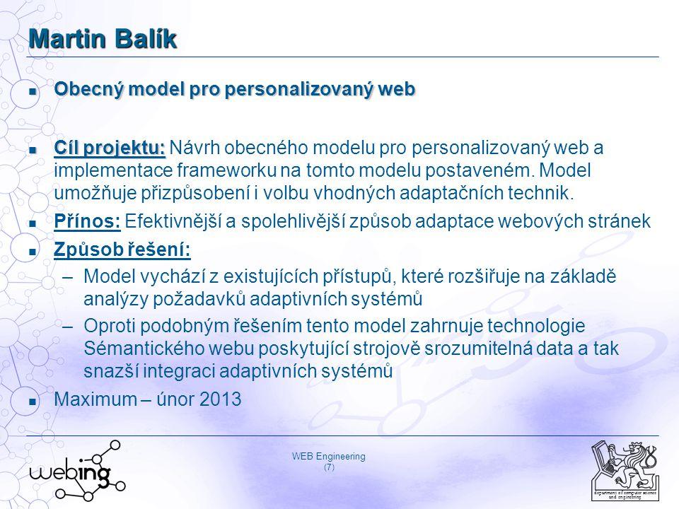 Martin Balík Obecný model pro personalizovaný web