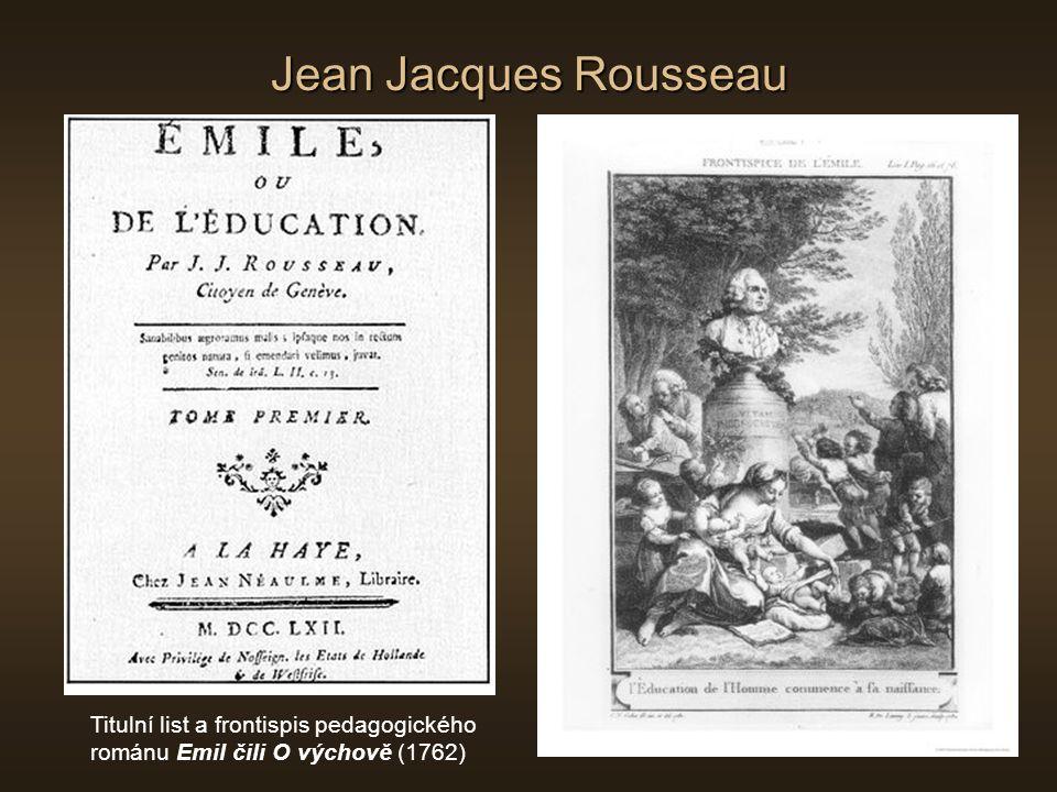 Jean Jacques Rousseau Titulní list a frontispis pedagogického