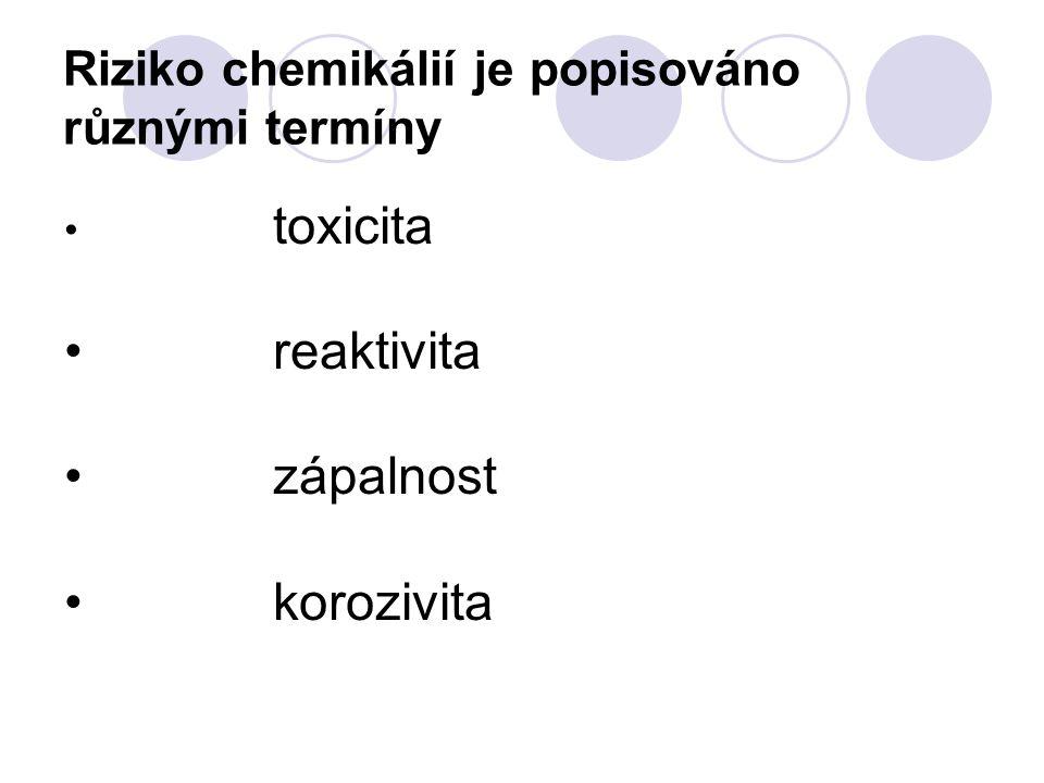 Riziko chemikálií je popisováno různými termíny