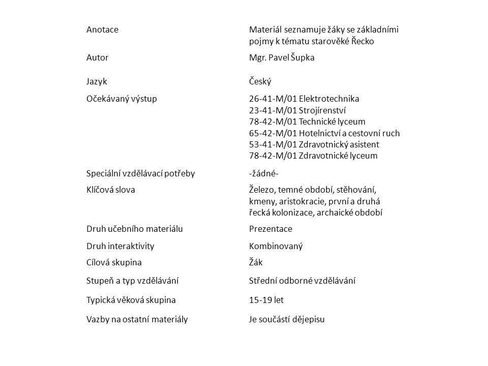 Anotace Materiál seznamuje žáky se základními pojmy k tématu starověké Řecko. Autor. Mgr. Pavel Šupka.