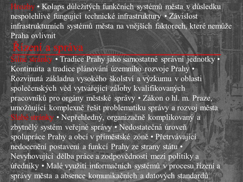 Hrozby • Kolaps důležitých funkčních systémů města v důsledku nespolehlivě fungující technické infrastruktury • Závislost infrastrukturních systémů města na vnějších faktorech, které nemůže Praha ovlivnit