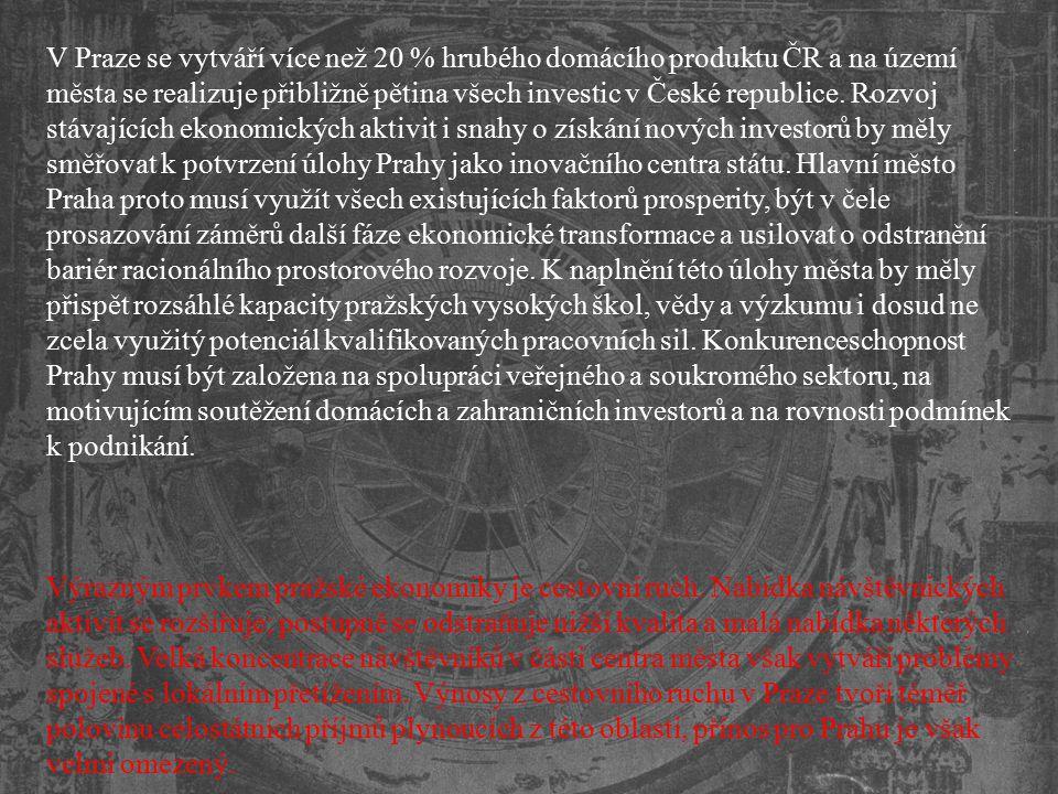 V Praze se vytváří více než 20 % hrubého domácího produktu ČR a na území města se realizuje přibližně pětina všech investic v České republice. Rozvoj stávajících ekonomických aktivit i snahy o získání nových investorů by měly směřovat k potvrzení úlohy Prahy jako inovačního centra státu. Hlavní město Praha proto musí využít všech existujících faktorů prosperity, být v čele prosazování záměrů další fáze ekonomické transformace a usilovat o odstranění bariér racionálního prostorového rozvoje. K naplnění této úlohy města by měly přispět rozsáhlé kapacity pražských vysokých škol, vědy a výzkumu i dosud ne zcela využitý potenciál kvalifikovaných pracovních sil. Konkurenceschopnost Prahy musí být založena na spolupráci veřejného a soukromého sektoru, na motivujícím soutěžení domácích a zahraničních investorů a na rovnosti podmínek k podnikání.