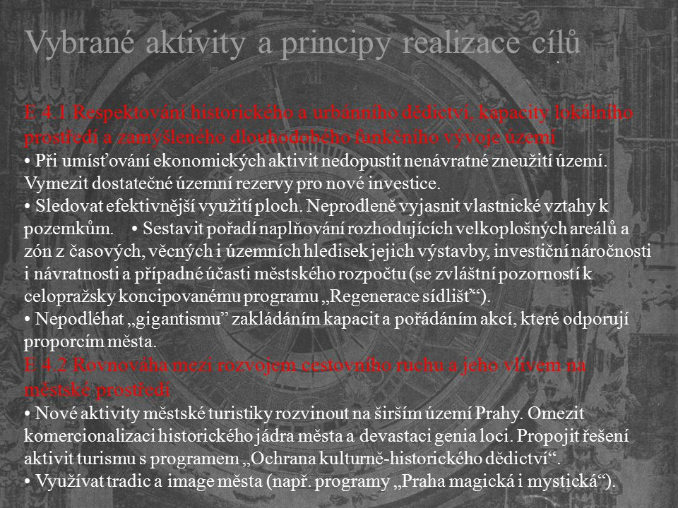 Vybrané aktivity a principy realizace cílů