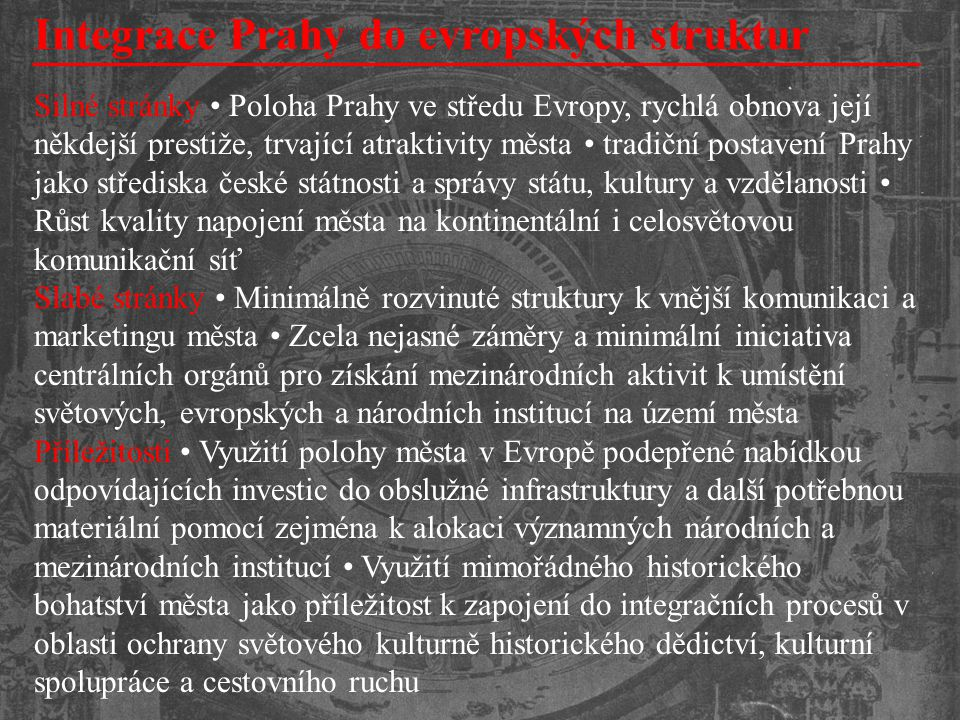 Integrace Prahy do evropských struktur