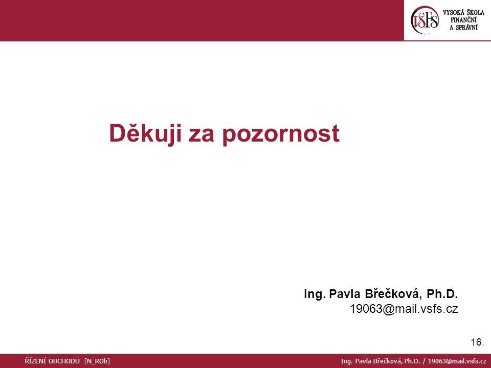 Děkuji za pozornost Ing. Pavla Břečková, Ph.D. 19063@mail.vsfs.cz