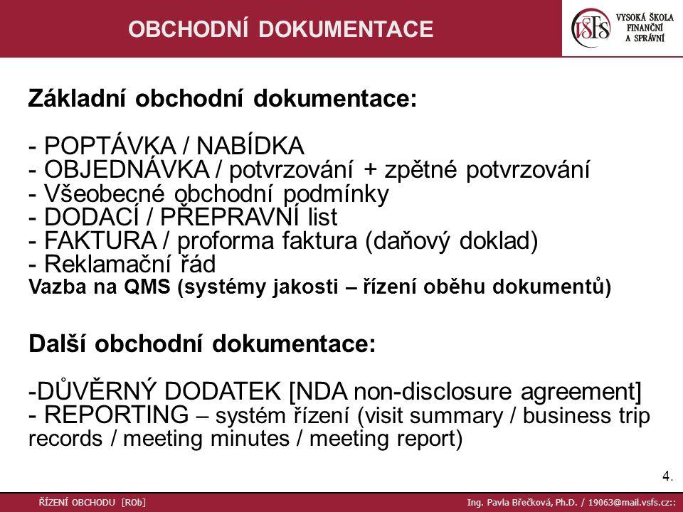 Základní obchodní dokumentace: POPTÁVKA / NABÍDKA