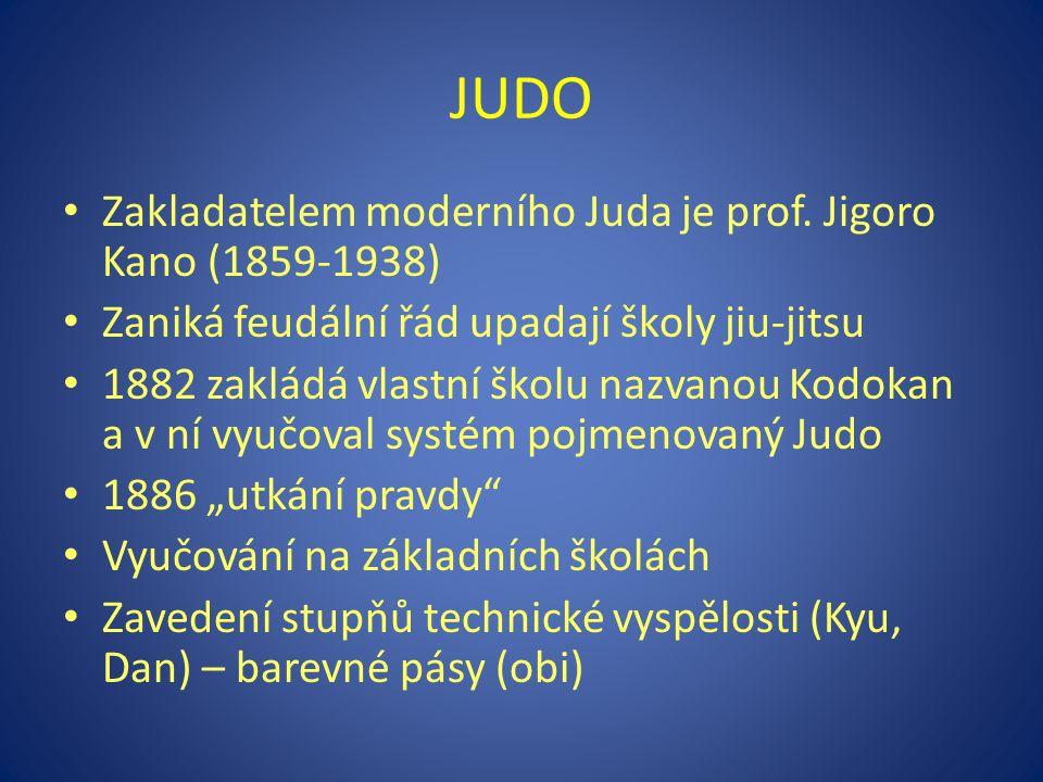 JUDO Zakladatelem moderního Juda je prof. Jigoro Kano (1859-1938)