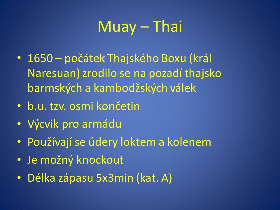 Muay – Thai 1650 – počátek Thajského Boxu (král Naresuan) zrodilo se na pozadí thajsko barmských a kambodžských válek.