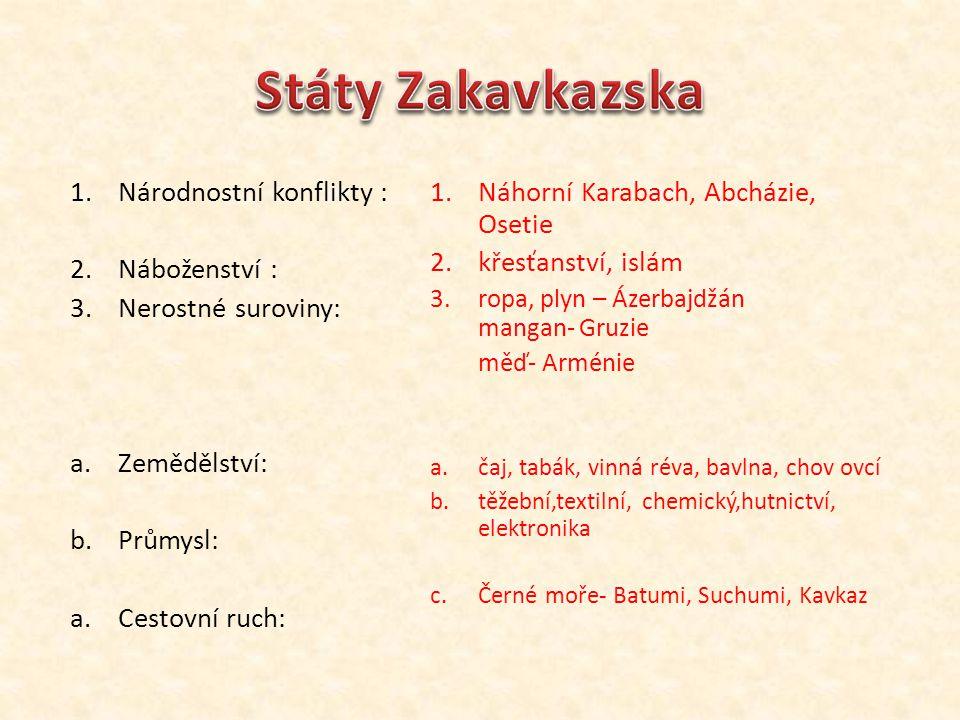 Státy Zakavkazska Národnostní konflikty : Náboženství :