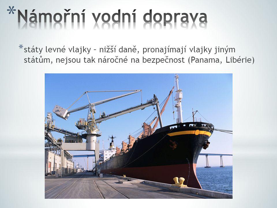 Námořní vodní doprava státy levné vlajky – nižší daně, pronajímají vlajky jiným státům, nejsou tak náročné na bezpečnost (Panama, Libérie)