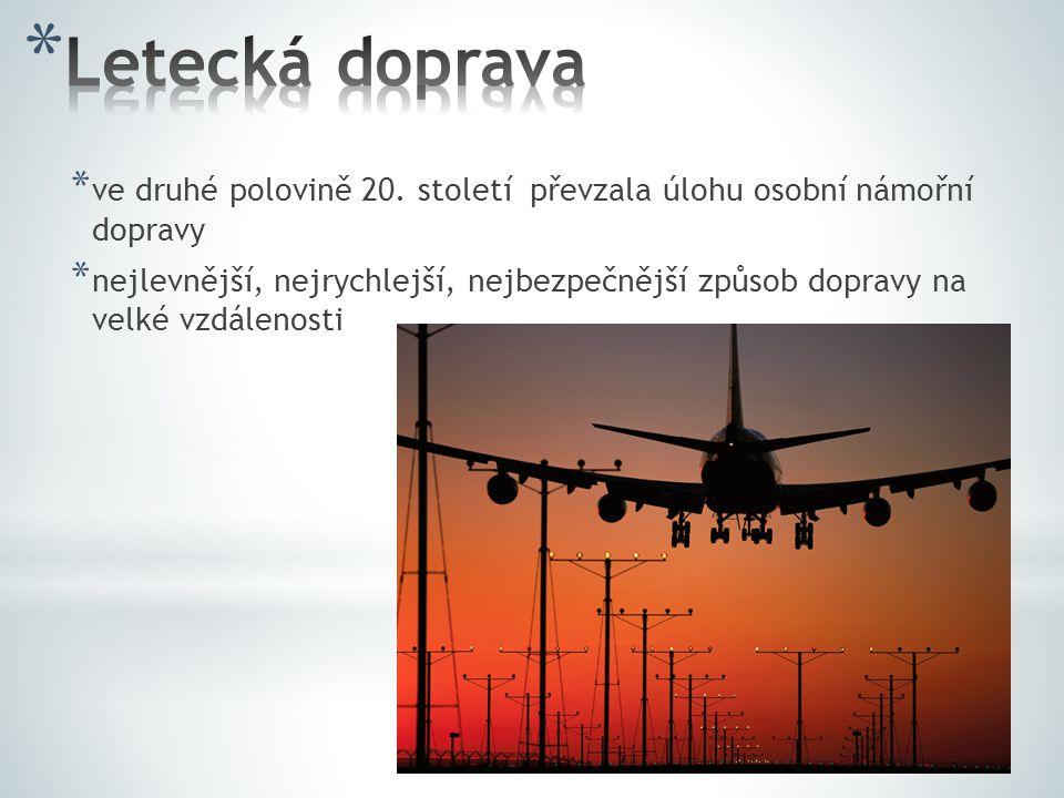 Letecká doprava ve druhé polovině 20. století převzala úlohu osobní námořní dopravy.