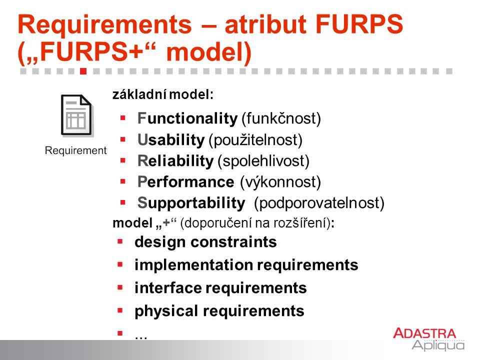 "Requirements – atribut FURPS (""FURPS+ model)"