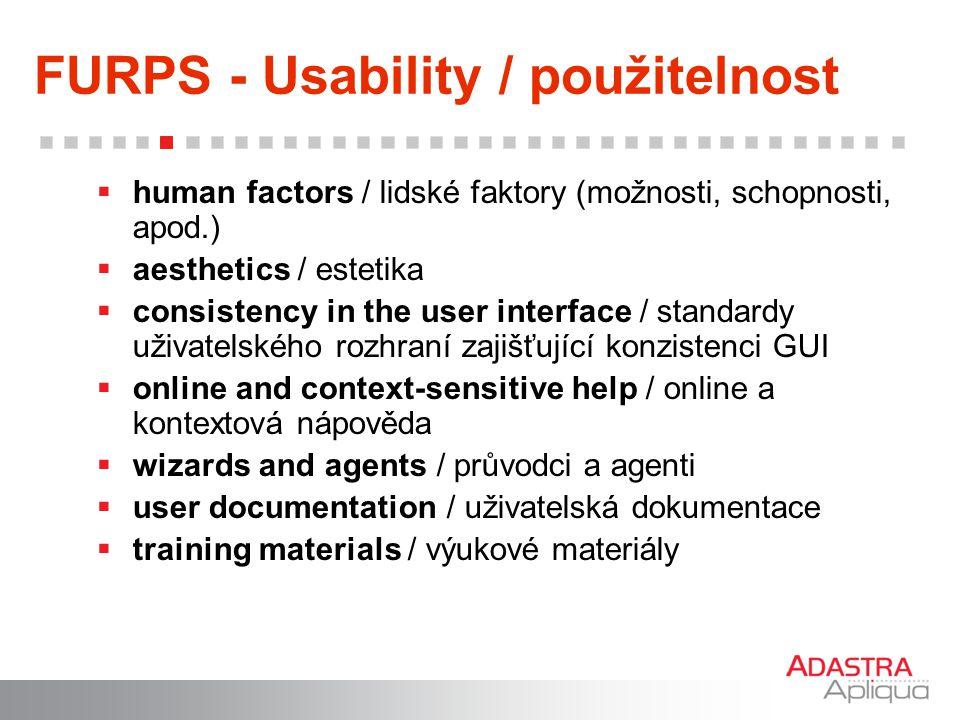 FURPS - Usability / použitelnost