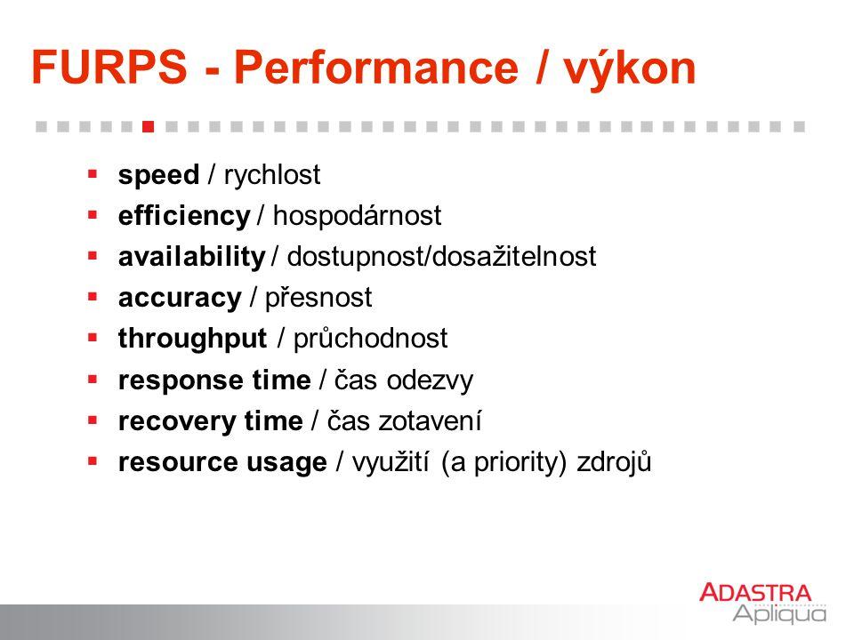 FURPS - Performance / výkon