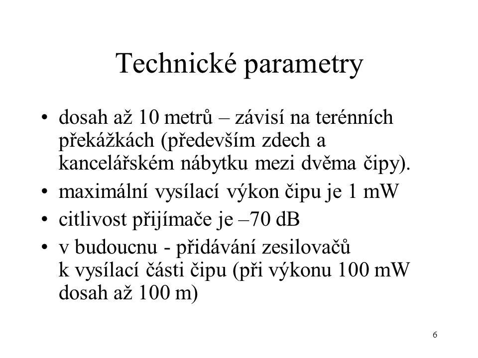 Technické parametry dosah až 10 metrů – závisí na terénních překážkách (především zdech a kancelářském nábytku mezi dvěma čipy).