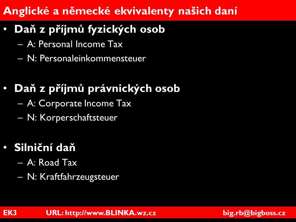Anglické a německé ekvivalenty našich daní