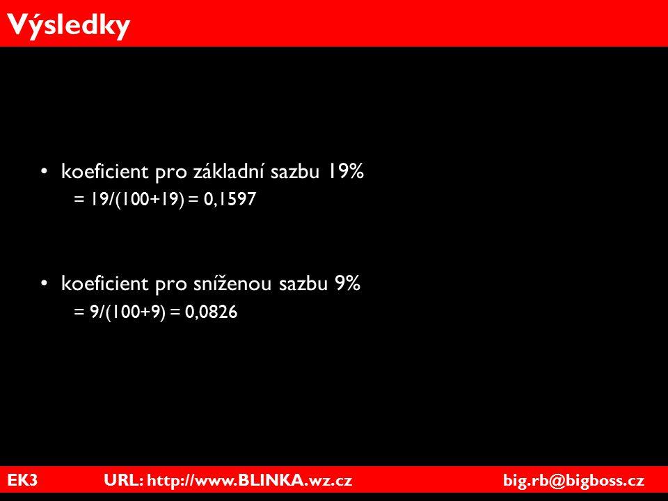 Výsledky koeficient pro základní sazbu 19%