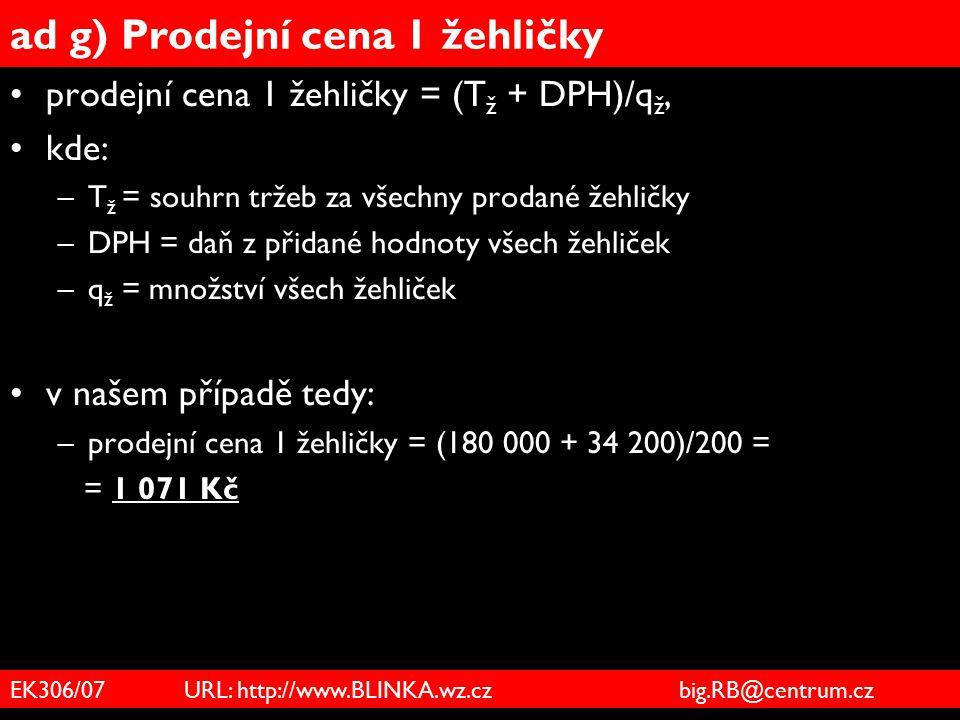 ad g) Prodejní cena 1 žehličky