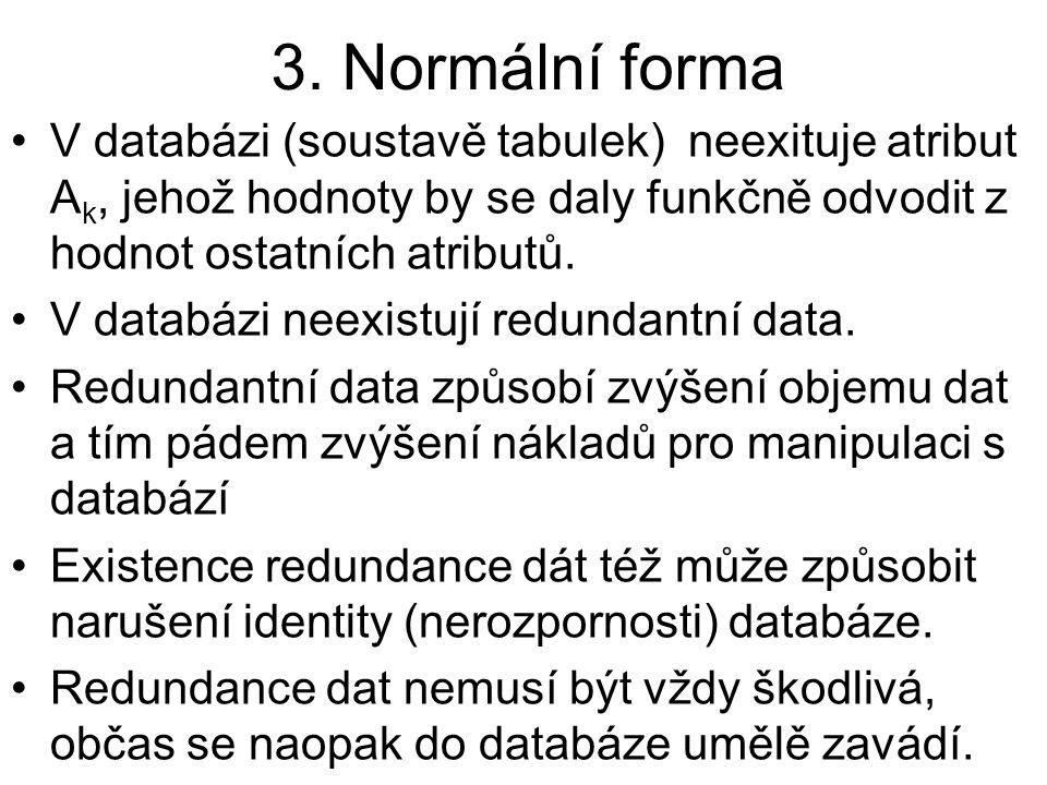 3. Normální forma V databázi (soustavě tabulek) neexituje atribut Ak, jehož hodnoty by se daly funkčně odvodit z hodnot ostatních atributů.