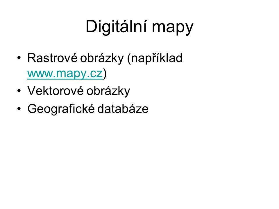 Digitální mapy Rastrové obrázky (například www.mapy.cz)