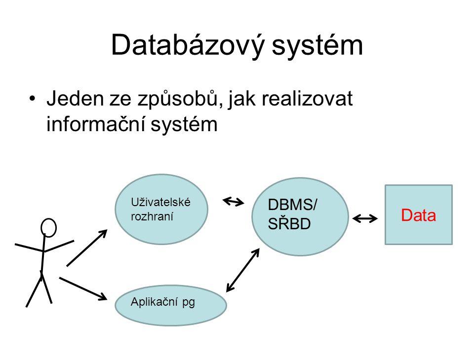 Databázový systém Jeden ze způsobů, jak realizovat informační systém
