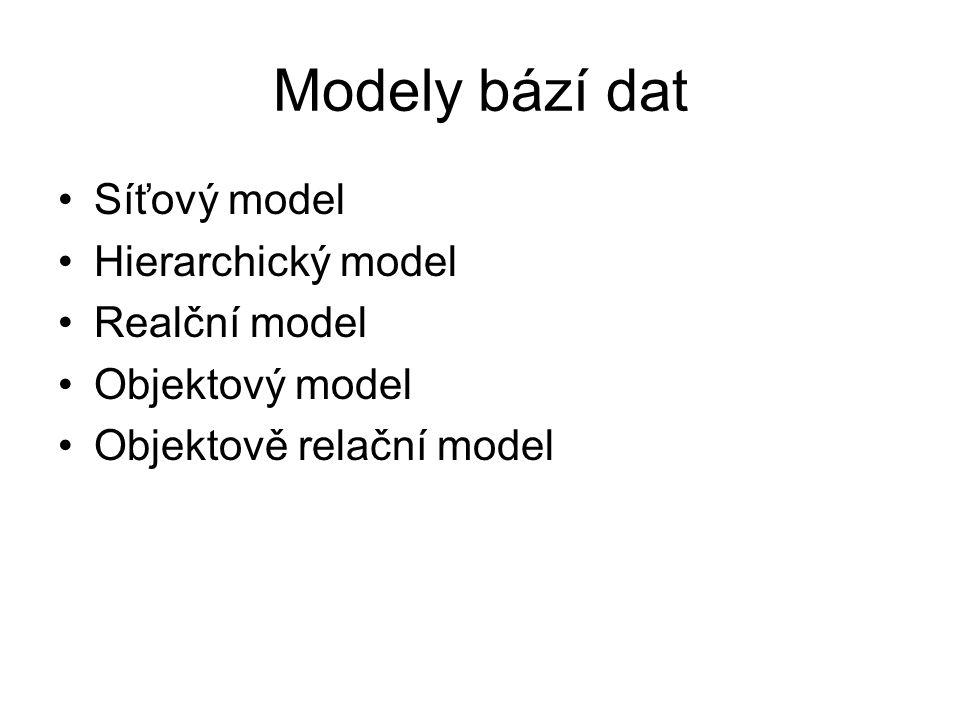 Modely bází dat Síťový model Hierarchický model Realční model