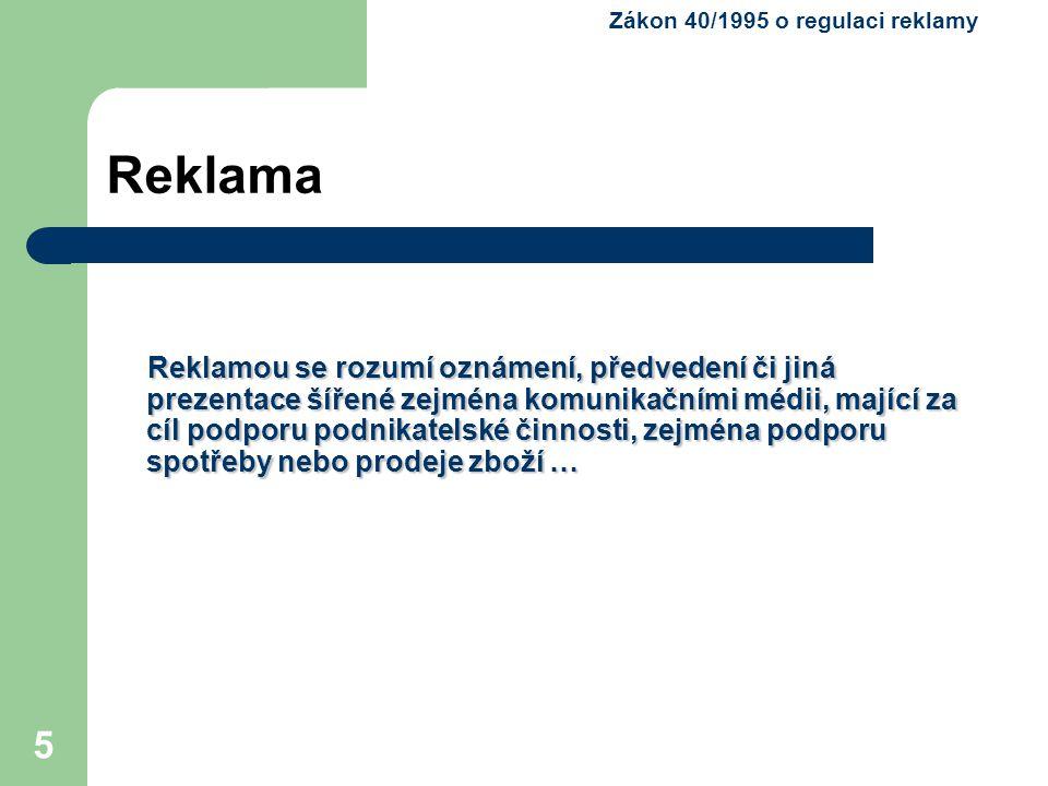 Zákon 40/1995 o regulaci reklamy