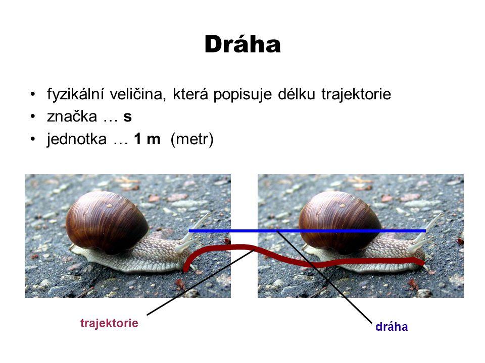 Dráha fyzikální veličina, která popisuje délku trajektorie značka … s