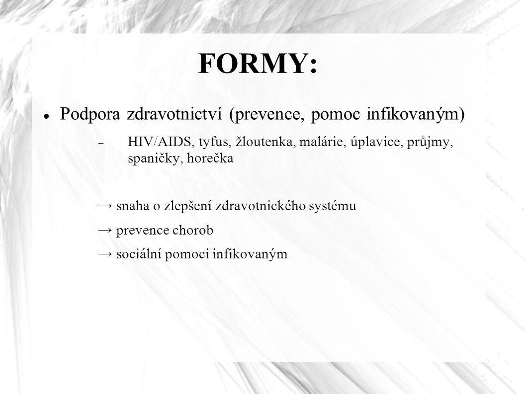 FORMY: Podpora zdravotnictví (prevence, pomoc infikovaným)