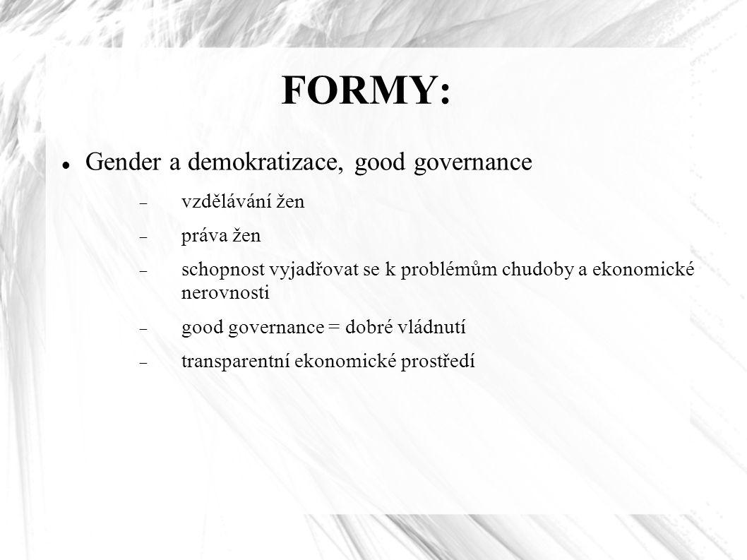 FORMY: Gender a demokratizace, good governance vzdělávání žen