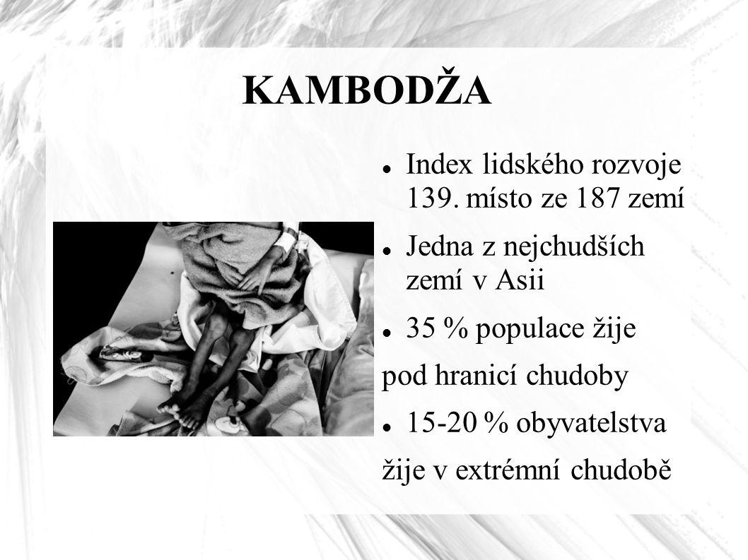 KAMBODŽA Index lidského rozvoje 139. místo ze 187 zemí